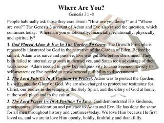 Where Are You? Genesis 3:1- 8