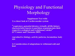 Physiology and Functional Morphology