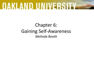 Chapter 6:  Gaining Self-Awareness Melinda Booth