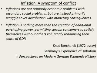 Inflation: A symptom of conflict