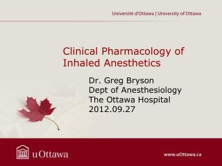 Clinical Pharmacology of  Inhaled Anesthetics