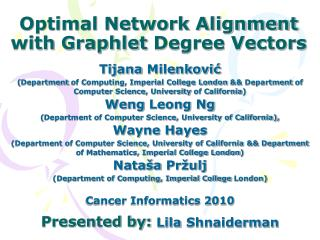 Optimal Network Alignment with  Graphlet  Degree Vectors