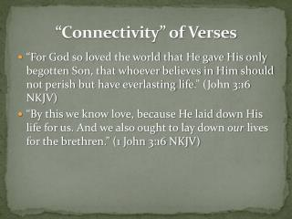 """Connectivity"" of Verses"