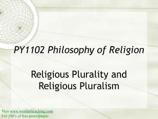PY1102 Philosophy of Religion