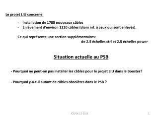 -  Pourquoi  ne  peut -on pas installer les  câbles  pour le  projet  LIU  dans  le Booster?