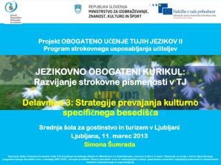 Projekt OBOGATENO UČENJE TUJIH JEZIKOV II Program strokovnega usposabljanja učiteljev