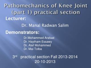 Pathomechanics of Knee Joint (part 1) practical section