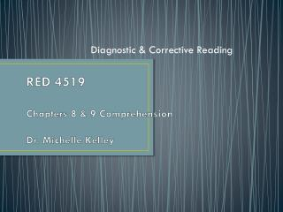 RED 4519 Chapters 8 & 9 Comprehension Dr. Michelle Kelley