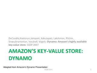 Amazon's Key-Value Store: Dynamo