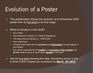 Evolution of a Poster