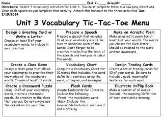 Unit 3 Vocabulary Tic-Tac-Toe Menu
