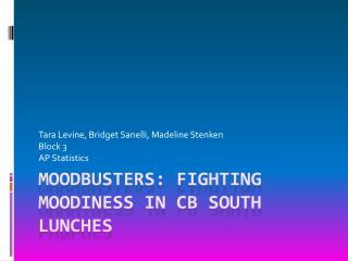 Moodbusters : Fighting Moodiness in CB South Lunches