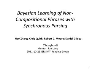 Bayesian Learning of Non-Compositional Phrases with Synchronous Parsing