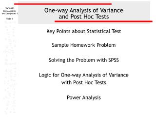 One-way Analysis of Variance  and Post Hoc Tests