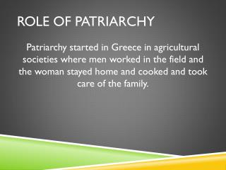 Role of Patriarchy
