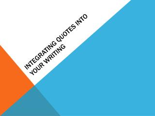 Integrating quotes into your writing