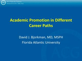 Academic Promotion in Different Career Paths