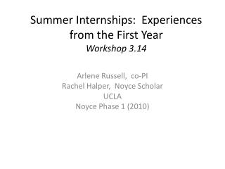 Summer Internships:  Experiences from the First Year Workshop 3.14