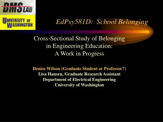 EdPsy581D:  School Belonging