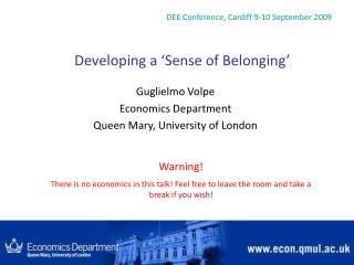 Developing a  Sense of Belonging