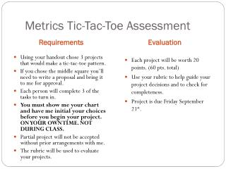 Metrics Tic- Tac -Toe Assessment