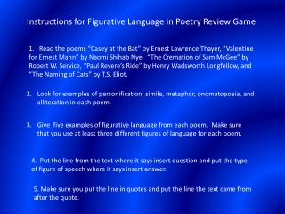 Instructions for Figurative Language in Poetry Review Game