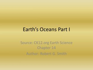 Earth's Oceans Part I