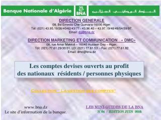 LES MINI-GUIDES DE LA BNA N° 04  /  EDITION JUIN  2010.