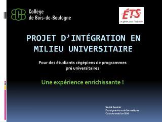 Projet d'intégration en milieu universitaire