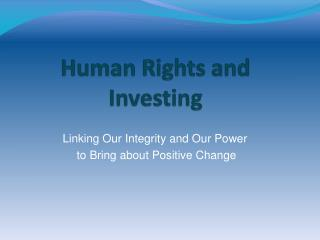 Human Rights and Investing