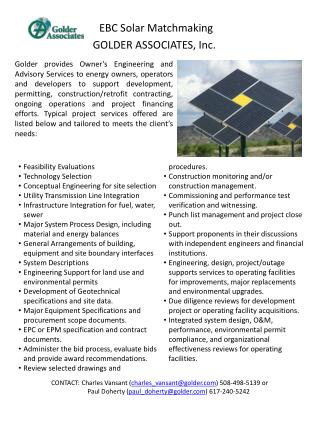 EBC Solar Matchmaking