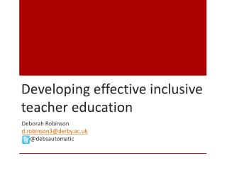 Developing effective inclusive teacher education