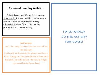 Extended Learning Activity Adult Roles and Financial Literacy