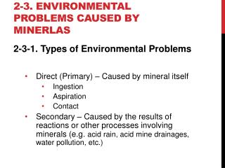 2-3. environmental problems caused by  minerlas