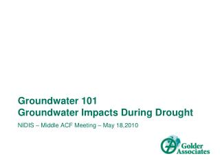 Groundwater 101 Groundwater Impacts During Drought