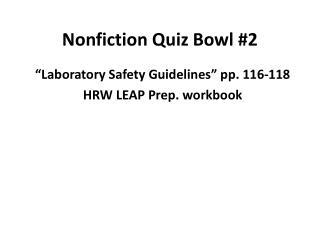 Nonfiction Quiz Bowl #2