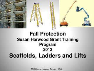 Fall Protection Susan Harwood Grant Training Program 2013 Scaffolds, Ladders and Lifts
