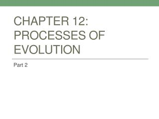 Chapter 12:  Processes of Evolution