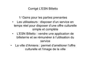 Corrigé L'ESN  Billetto 1/ Gains  pour les parties prenantes