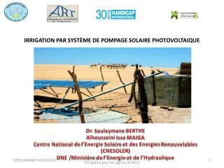 IRRIGATION PAR SYSTÈME DE POMPAGE SOLAIRE PHOTOVOLTAIQUE