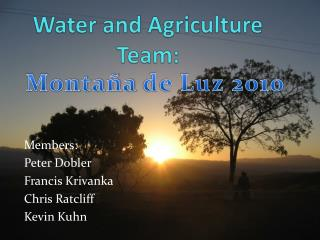 Water and Agriculture Team: