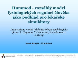 Hummod - rozsáhlý model fyziologických regulací člověka jako podklad pro lékařské simulátory