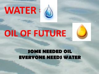WATER =   OIL  OF FUTURE