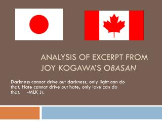 Analysis of excerpt from Joy  Kogawa's Obasan