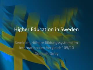 Higher Education in Sweden