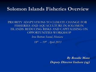 Solomon Islands Fisheries Overview