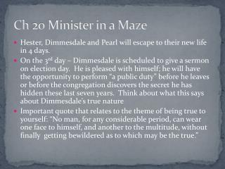 Ch 20 Minister in a Maze