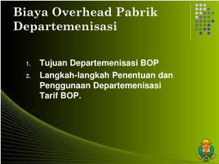 Biaya Overhead Pabrik Departemenisasi