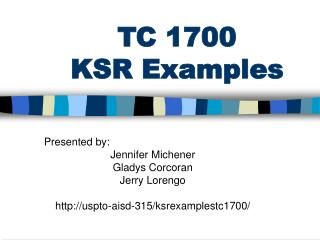 TC 1700 KSR Examples