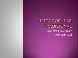 Lírica popular tradicional